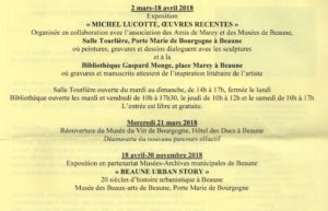 Activités du Centre beaunois d'études historiques, 1er semestre 2018