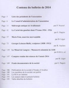 Bulletin de la Société d'études d'Avallon, 92e volume. Table des matières