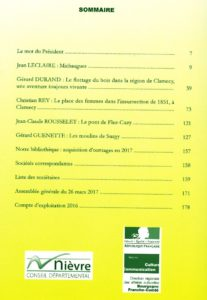 Bulletin de la Société scientifique et artistique de Clamecy, 2017. Sommaire