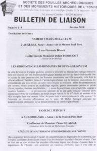 Bulletin de liaison de la Société des fouilles archéologiques et des monuments historiques de l'Yonne, n° 114, février 2018