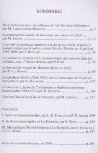 Revue de la Saintonge et de l'Aunis, tome 42, 2016. Sommaire