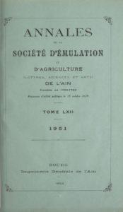 Annales de la Société d'émulation, agriculture, lettres et arts de l'Ain
