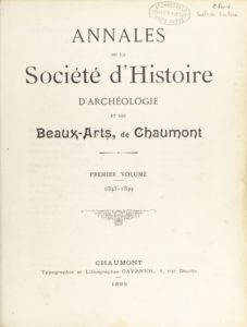 Annales de la Société d'histoire, d'archéologie et des beaux-arts de Chaumont