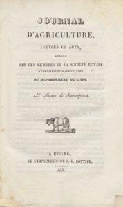 Journal d'agriculture, lettres et arts du département de l'Ain
