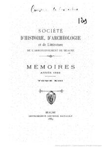 Mémoires – Société d'histoire, d'archéologie et de littérature de l'arrondissement de Beaune