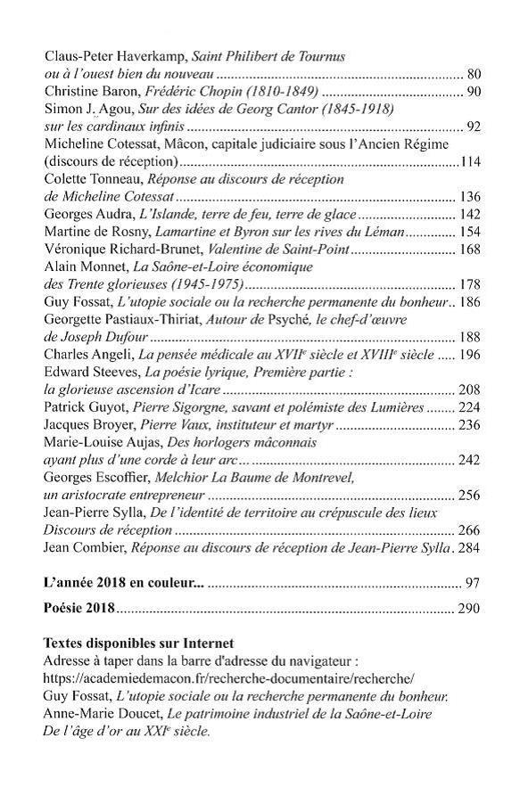 Annales de l'Académie de Mâcon, 5e série, tome 12, travaux 2018. Sommaire