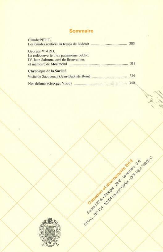 Bulletin de la Société historique et archéologique de Langres, n° 414, 29e tome, 1er trimestre 2019. Sommaire