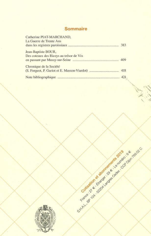 Bulletin de la Société historique et archéologique de Langres, n° 416, 29e tome, 3e trimestre 2019. Sommaire