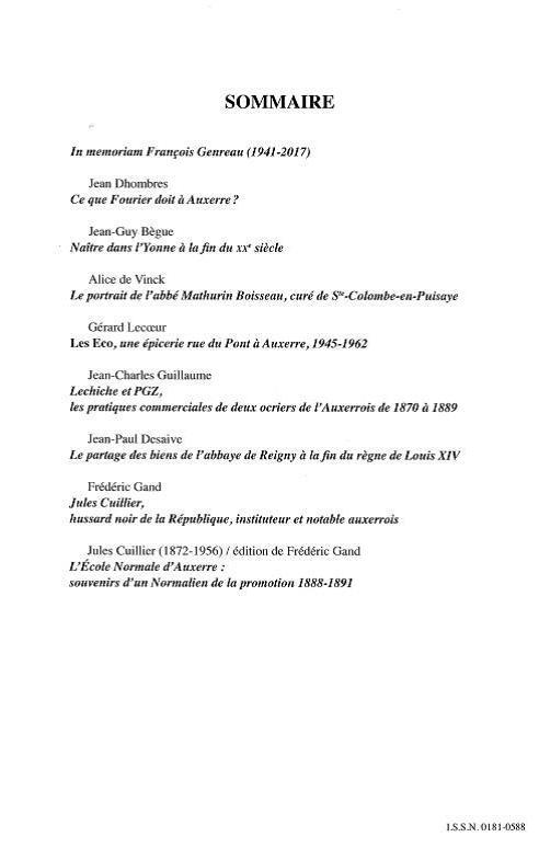 Bulletin de la Société des sciences historiques et naturelles de l'Yonne, Année 2016, 154e volume. Sommaire