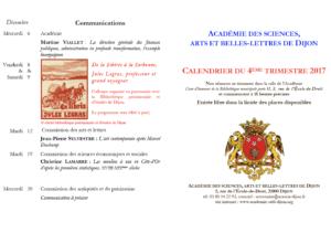 Académie des sciences, arts et belles-lettres de Dijon Communications décembre 2017