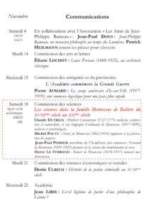 Académie des sciences, arts et belles-lettres de Dijon Communications novembre 2017