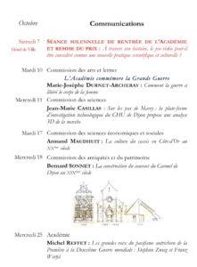 Académie des sciences, arts et belles-lettres de Dijon Communications octobre 2017