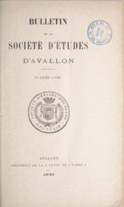 Bulletin de la Société d'études d'Avallon