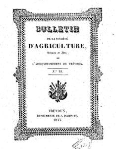Bulletin de la Société d'agriculture, sciences et arts de l'arrondissement de Trévoux