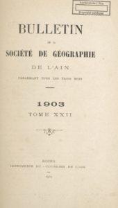Bulletin de la Société de géographie de l'Ain