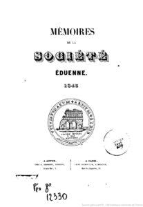 Mémoires de la Société éduenne (1844)
